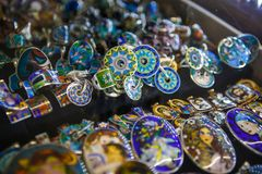 Cloisonne enamel-silver jewelry of Georgia. stock photography