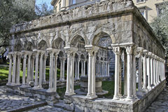 The cloister. A detail of an ancient cloister in Italy Royalty Free Stock Images