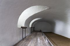 Cloister. In the vault of the cathedral. France, near the Atlantic ocean royalty free stock photos
