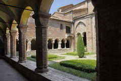 Cloister. Of the Vezzolano Abbey, built on the 11th century near Asti, Piedmont Royalty Free Stock Images