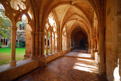 Cloister. A nice and illuminated cloister; Monastery of Veruela, Spain Stock Photo
