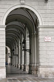 Cloister. Arched passage next to the City Hall (Rathaus) in Vienna Stock Photos