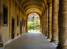 Cloister. Inner cloister of an ancient palace in Rome Royalty Free Stock Image