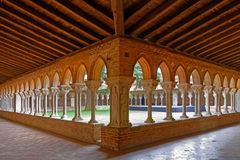 Cloister of Abbey in Moissac. MOISSAC, FRANCE, June 23, 2015 : Moissac is known internationally for the artistic heritage preserved in the medieval Saint-Pierre Stock Photo