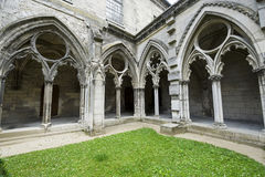 Cloister of abbey in Soissons Royalty Free Stock Photography