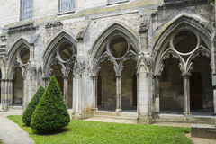 Cloister of abbey in Soissons Stock Photos