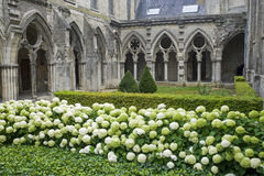 Cloister of abbey in Soissons Stock Photo