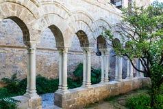 "The cloister of the arab-norman church ""San Giovanni degli Eremiti"" in Palermo. Sicily. The cloister of the arab-norman church ""San Giovanni degli Royalty Free Stock Photos"