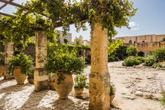 Arkadi monastery. Crete. Cloister in Arkadi monastery. Crete, Greece , Europe Royalty Free Stock Photos