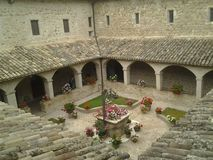 Cloister Basilica of San Francesco d`Assisi royalty free stock photo