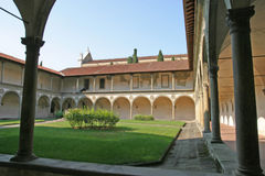 Cloister of basilica Santa Croce royalty free stock images