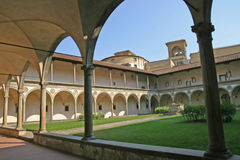 Cloister of basilica Santa Croce Stock Photo