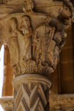 Cloister of the Benedictine monastery in the Cathedral of Monreale in Sicily. General view and details of the columns and capitals Royalty Free Stock Images