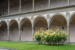 Cloister of Brunelleschi in the Basilica of Santa Croce in Flore. Partial view of the Cloister of Brunelleschi in the Basilica of Santa Croce in Florence with a Stock Photos