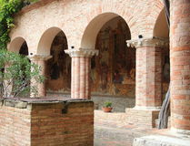 Cloister of Chiaravalle  Abbey, Fiastra, Italy Royalty Free Stock Image