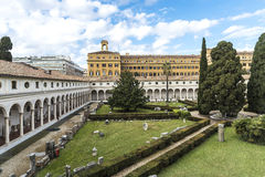 Cloister of the convent of Certosini in Rome, Italy Stock Images