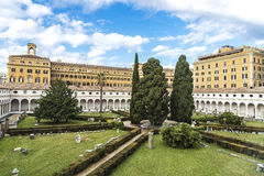 Cloister of the convent of Certosini in Rome, Italy Royalty Free Stock Photos