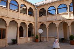 Cloister of the convent of Sabiote, village of Jaen, in Andalusia. Southern Spain. It is one of the best places to see and visit in the town, for its beauty Royalty Free Stock Photos