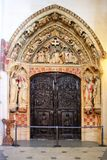 Cloister door of Burgos cathedral stock image