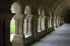 The cloister of Fontenay's abbey Stock Photos