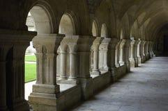 The cloister of Fontenay's abbey Stock Photos