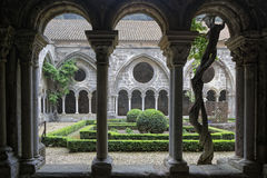 Cloister in Fontfroide Abbey Royalty Free Stock Photos