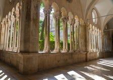Cloister of  franciscan monastery. Historic, stone cloister of  franciscan monastery in Dubrovnik, Croatia Royalty Free Stock Photos