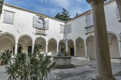 Cloister of the Franciscan Monastery in Piran, Slovenia stock photography