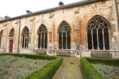 Cloister garden at a typical Dutch rainy day Stock Photo