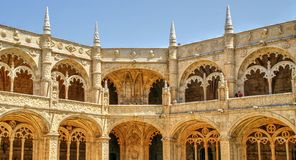 Cloister of Jeronimos monastery in Lisbon stock photography