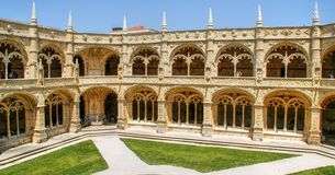 Cloister of Jeronimos monastery in Lisbon stock photo