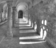 Cloister in the Kaiserdom of Königslutter am Elm in bright sunshine, Germany January 2019 royalty free stock photo