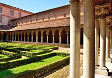 Cloister in Les Jacobins convent in Toulouse stock photography