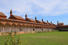 Cloister of the monastery called Certosa di Pavia in Italy Stock Photos