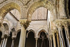 Cloister of the Monreale Abbey, Palermo Stock Photo