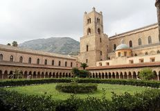 Cloister of Monreale Cathedral. A medieval cloister in Monreale Cathedral nearby Palermo, Sicily, Italy Royalty Free Stock Photos