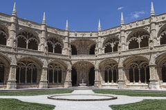 Cloister Mosteiro dos Jeronimos royalty free stock photo