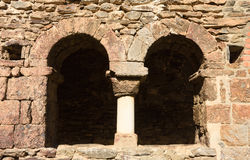 Cloister of Old romanesque monastery late eighth century Sant Royalty Free Stock Photos