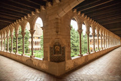 Cloister of Pedralbes Monastery at Barcelona. Catalonia, Spain Royalty Free Stock Photo