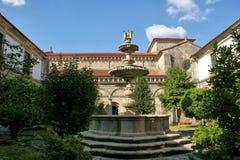 Cloister of romanesque monastery of Paco de Sousa stock photography