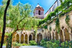 Cloister of San Francesco d`Assisi Church in Sorrento, Italy. The scenic cloister of San Francesco d& x27;Assisi Church in Sorrento, Italy Stock Photos