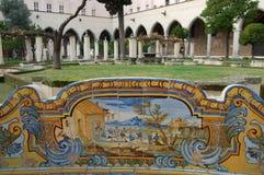 Cloister of Santa Chiara in Naples. The interior of the cloister of Santa Chiara church in Naples stock image