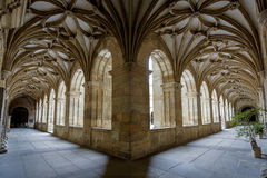 Cloister of Santa Maria Cathedral in Leon. LEON, SPAIN - MAR 23, 2015 : Cloister of the famous cathedral of Leon, Spain. The cathedral was built on the site of Royalty Free Stock Images