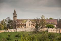 Cloister. And the sky with clouds Royalty Free Stock Photography