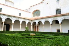 The cloister and the small garden inside of the Ducal Palace of Vila Viçosa. Photo of the cloister and the small garden inside the Ducal Palace of Vila Viç stock photos