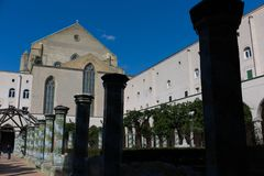 Cloister St. Chiara. Cloister of St. Chiara church and monastery, Naples, Italy stock photography