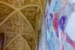 Cloister St. Chiara. Cloister of St. Chiara church and monastery, Naples, Italy royalty free stock photography