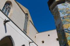 Cloister St. Chiara. Cloister of St. Chiara church and monastery, Naples, Italy royalty free stock photos