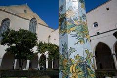 Cloister St. Chiara. Cloister of St. Chiara church and monastery, Naples, Italy stock image