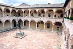 Cloister of St. Francesco Basilica. Assisi. Umbria Stock Images